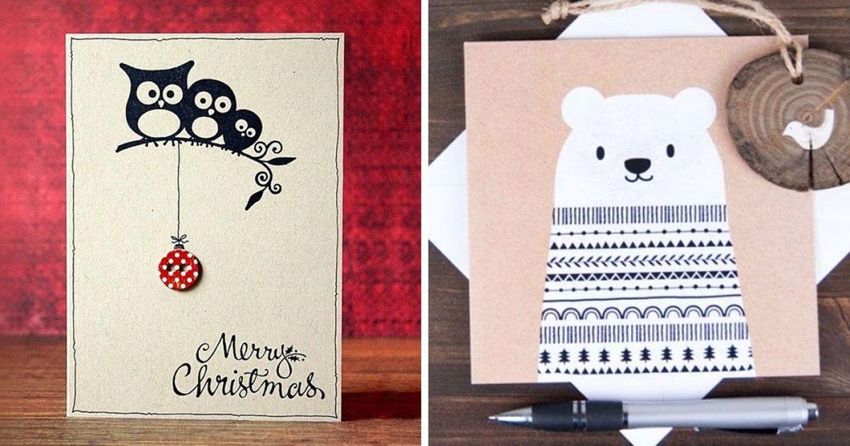 40чудесных новогодних открыток, которые можно сделать изтого, что под рукой