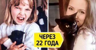 15+ пользователей поделились фотографиями, на которых видно, как они взрослели вместе с домашними любимцами
