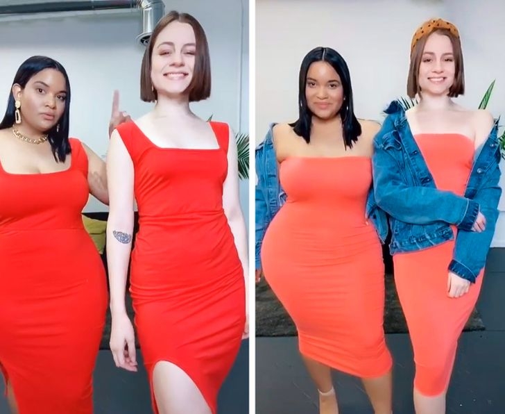 Две подруги показали, как одна и та же одежда сидит на девушках с разными фигурами