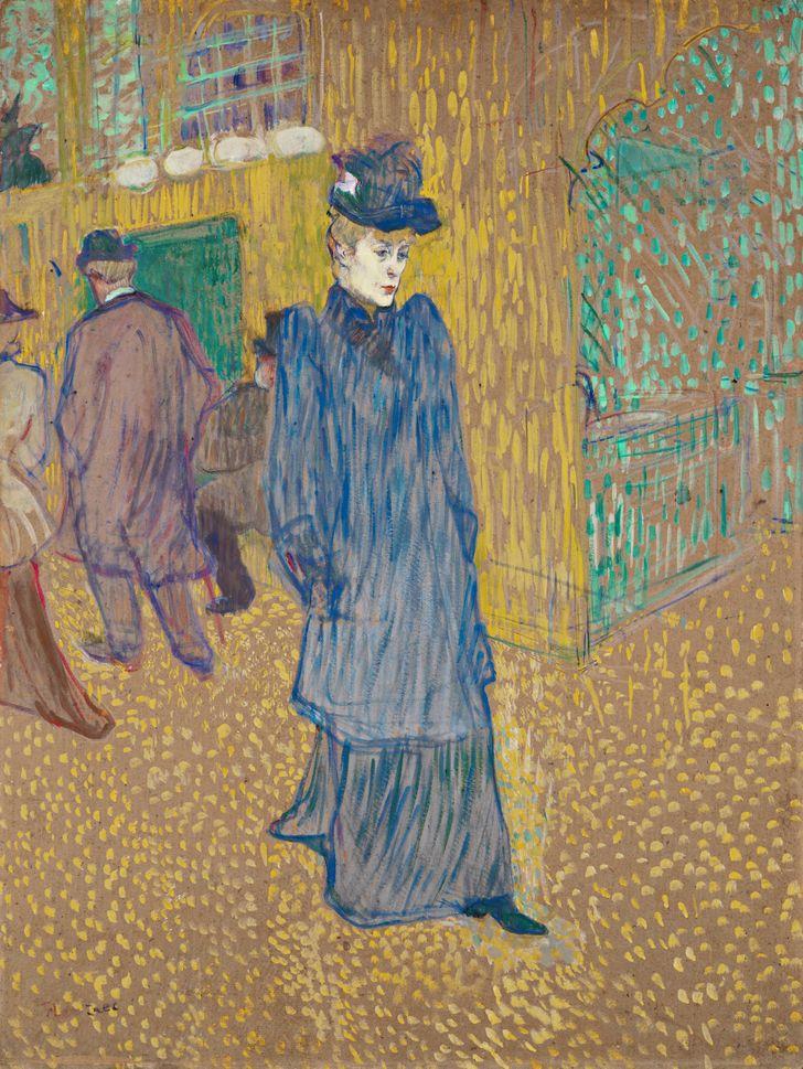 Джейн Авриль, выходящая из Мулен-Руж, 1892 год