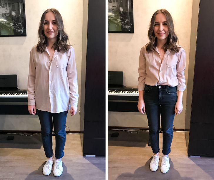 Девушки примерили 14 вещей, которые помогают выглядеть на 2 размера меньше. И показали свои фото «до и после»