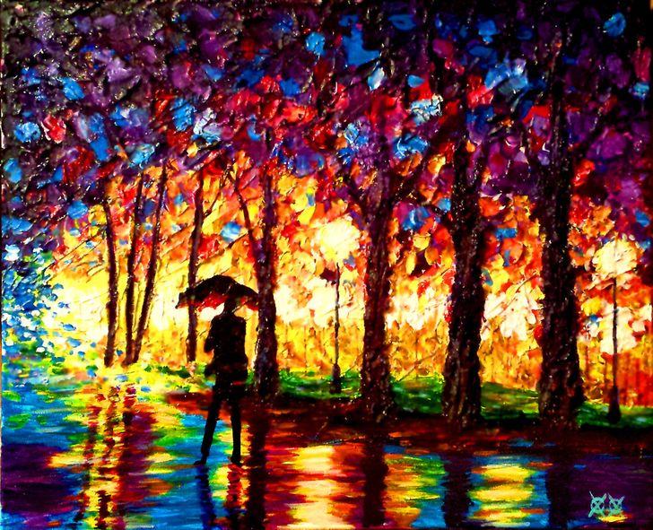 Слепой художник наощупь создает красочные полотна. Восторг!