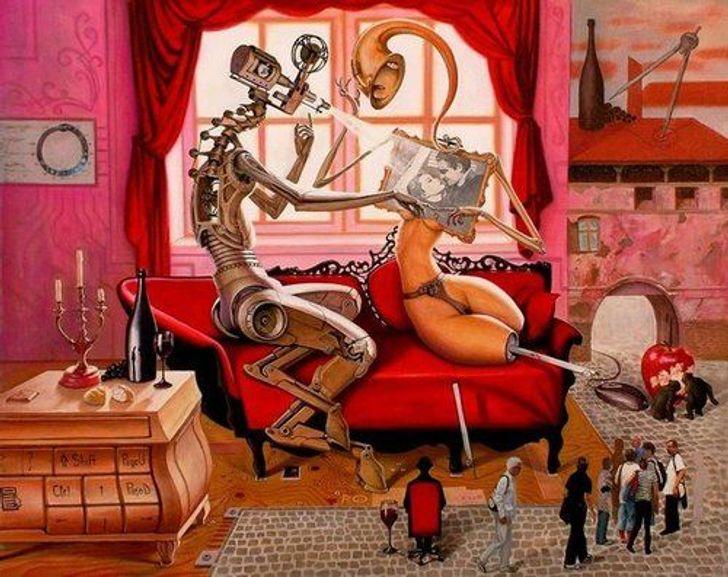 Художник создает проникновенные картины, которые расскажут все олюбви истрасти